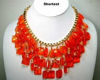 OMG..STUNNING Orange Dangling Bib Necklace, Dramatic Glam Gaudy Goddess, Showgirl, Grand Entrance Fun