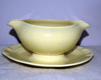 Vintage LuRay Pastels by Taylor Smith & Taylor Double Spout Gravy Boat w/Attached Under Plate, Yellow, Good Condition