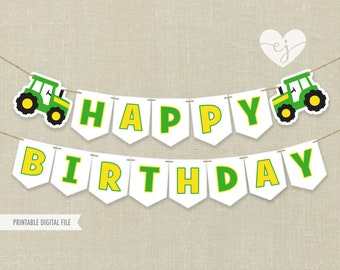 Printable Banner, Tractor Banner, Tractor Birthday Banner, Happy Birthday Banner, John Deere Banner, Tractor Printable Banner, Farm Banner