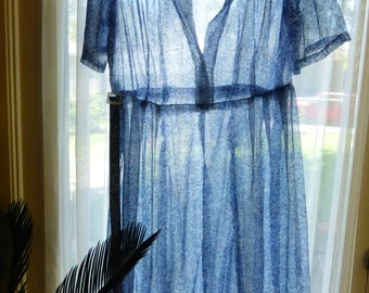 Vintage Sheer Shirtwaist Dress SZ L 50s/60s Blue Tree Print