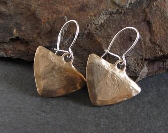 Bronze triangle earrings / rustic earrings / tribal earrings / gypsy earrings / dangle earrings / artisan earrings / boho earrings