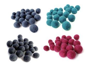 15mm Wool Felt Balls 20pcs - Choose your color - Blue, Aqua, Gray or Pink