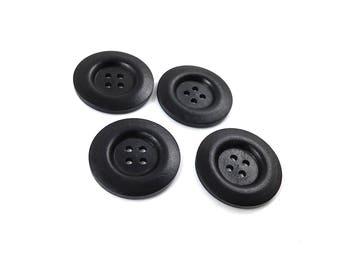 "Black button - 4 wooden buttons 35mm (1 3/8"")  (BB136Z)"