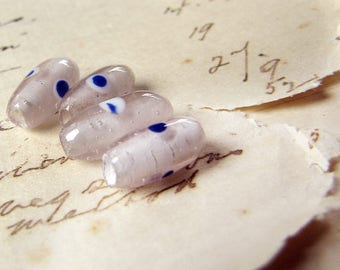 vintage clear glass tube beads with blue spots - circa 1940s 1950s - 4 beads
