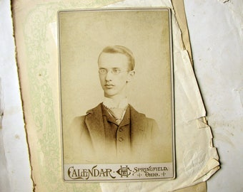 antique photograph - handsome blonde Victorian boy with a little extra neck - cabinet card character portrait - Ohio USA studio