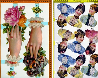 vintage scrapbooking die cuts - one sheet of hands or ladies heads - Victorian lithograph reproduction