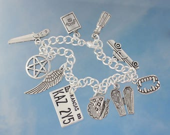 Supernatural Charm Bracelet - fan inspired jewelry- Sam and Dean, Demon hunters- pewter charms, silver plated steel chain- Free shipping USA