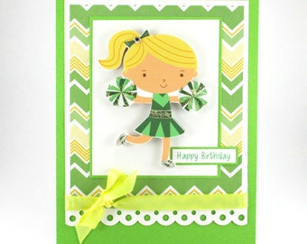 Girls birthday card, Happy Birthday, cheerleader, handmade birthday card, personalized cards, Birthday card for her, bellacardcreations