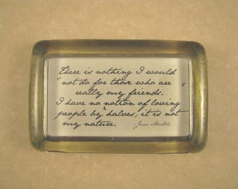 "Jane Austen Home Decor Regency ""Northanger Abbey"" Quotation Rectangle Glass Paperweight - My Friends"
