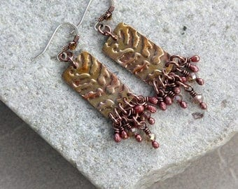 Golden Champange Copper Chandelier Earrings, Copper, Wire Wrapped, Handmade, Canada, Antique Metal, Flame Painted, Colorful, Summer