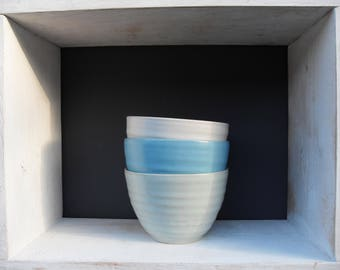 3x Smallish Bowls in three different shades of Blue Green and White Celadon glazes