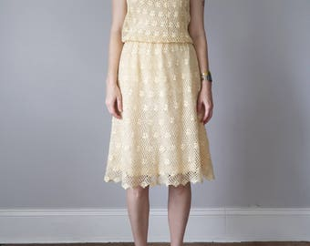 70s pastel yellow crochet dress sleeveless sundress (s - m)