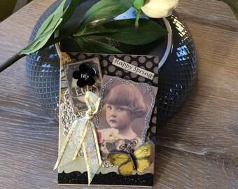 Springtime Card - Easter Card - Handmade Vintage-style Card
