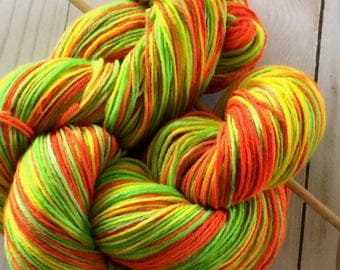 "Hand Painted, Variegated 8 Ply Fingering Weight Yarn, Sock Yarn, Shawl Yarn, Weaving Yarn ""Highlighters"" 90/10 U.S. Superwash Merino/ Nylon"