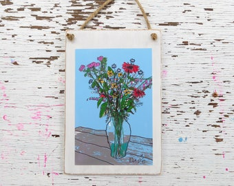 Flowers Painting, Plaque, Wall hanging, Country Style, Folk Art
