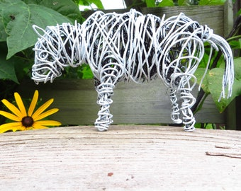 Pony, Wire Sculpture, Distressed White, Folk Art, Horse,