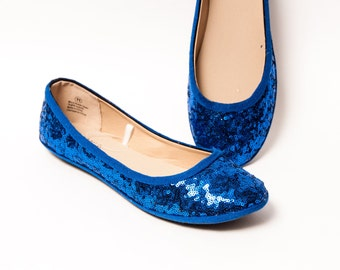 Tiny Sequin - Starlight Sapphire Custom Ballet Flats Slippers Shoes