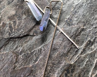 Haze - raw gray AB quartz point earrings on 14K gold fill wires - ready to ship