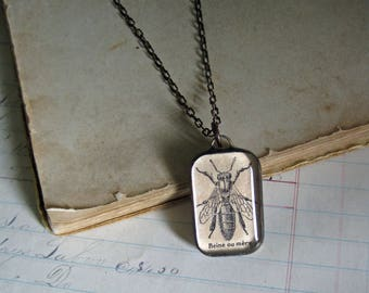 Queen Bee Long Necklace Antique French Dictionary Glass Jewelry