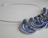 10 porcelain Half Discs with blue stripes - Necklace - Hand  made and hand painted.