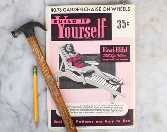 DIY Build it Yourself Lounge Chair Pattern / 1950's Easi-bild / Mid Century Patio Furniture Guide
