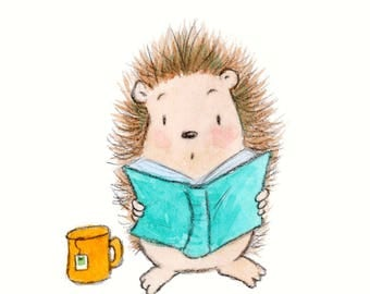 Oh My - Hedgehog Reading a Book - Art Print