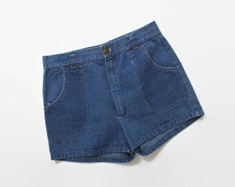 Vintage 70s JEAN SHORTS / 1970s High Waisted Blue DENIM Hot Pants xs