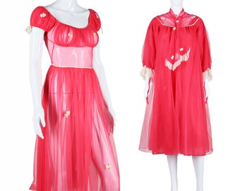 50s Peignoir Set 1950s Teddy Robe Set Sheer Hot Pink Lingerie Heart Appliques Sequins