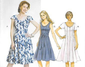 Butterick 5745 UNCUT Fit and Flared Dress and Belt Sewing Pattern Bust 38 to 46 Seam Detail