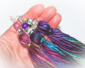 Set of Three Yarn Tassels with Decorative Beaded Tops - Jewel Tone Colors. For DIY Crafts & Jewelry Making.