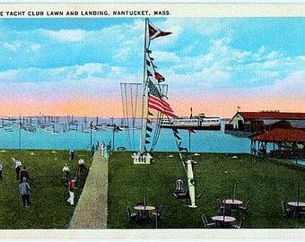 Vintage Nantucket Postcard - Lawn and Landing at Nantucket Yacht Club (Unused)