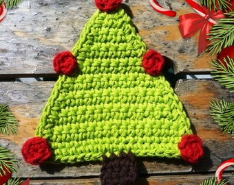 Christmas Coasters - Christmas Tree Coasters - Crochet Christmas Tree - Hostess gift - Gift under 20 - Christmas Party decor