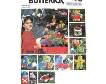 1970s Christmas Ornament Pattern Butterick 6342 Toy Train Transfer Vintage Holiday Decor UNCUT