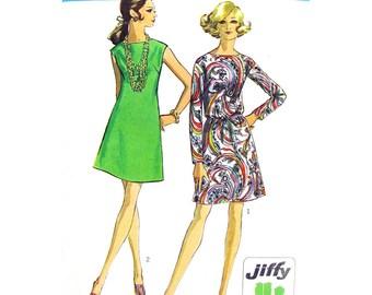 1960s Jiffy Dress Pattern Simplicity 8181 Sleeveless or Long Sleeve Dress Tie Belt Womens Bust 36 Vintage Sewing Pattern