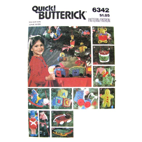 Holiday Decor Pattern Butterick 6342 Toy Train Transfer Vintage Christmas Ornaments