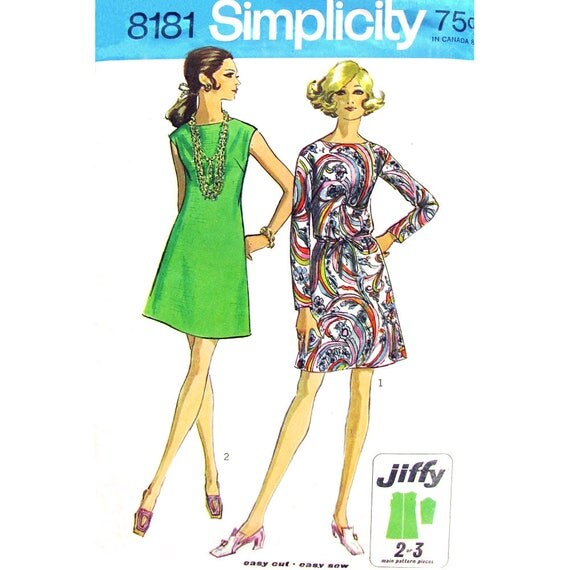 60s Jiffy Dress Sewing Pattern Simplicity 8181 Sleeveless or Long Sleeve Tie Belt Bust 36