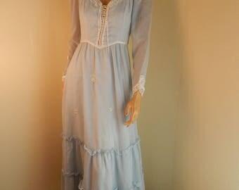vintage Gunne Sax dress, prairie gown dress, victorian dress, small