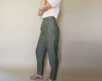 90s olive LINEN high waist TAPERED trousers M