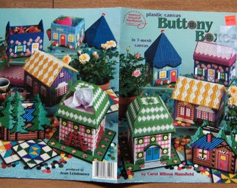1998 plastic canvas pattern Buttony Boxes tissue box cover coaster box treasure boxes all with buttons on them
