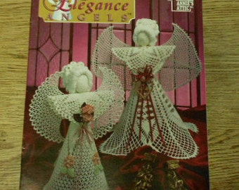 "vintage 1995 crochet patterns Sweet Elegance ANGELS   ornaments christmas  5 designs uses crochet cotton thread  - angels 15"" - 16 1/2"" tall"
