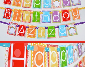Rainbow Birthday Party Banner Decorations Fully Assembled