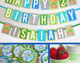 Garbage Truck Birthday Party Decorations Fully Assembled | Garbage Birthday Party | Truck Birthday | Garbage Truck Party | Blue Green Truck