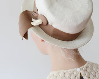 1960s White Straw Hat