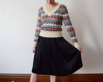 1970s Purple and Blue Sweater - S/M