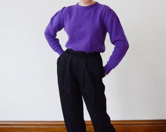 1980s Lord and Taylor Purple Sweater - M