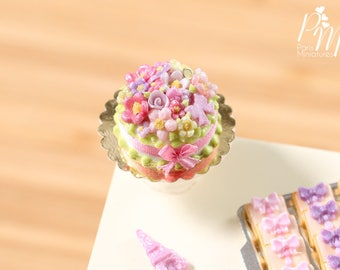 Pink Floral Garden Cake - Miniature Food in 12th Scale for Dollhouse