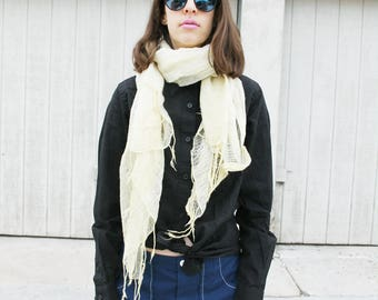Pale yellow thin gauze scarf