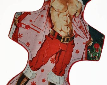 Heavy Core- St Nick Hunk Reusable Cloth Goddess L Pad- WindPro Fleece- 14.5 Inches