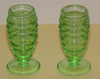 1930s Green Hazel Atlas Salt and Pepper Shakers