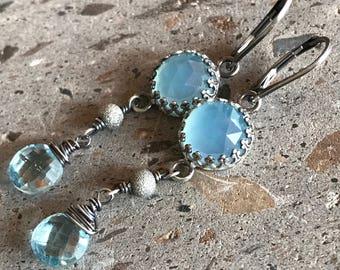 Pale Blue Rose Cut Chalcedony Earrings, Swiss Blue Topaz Earrings, Long Dangle Earrings, Faceted Blue Stone Earrings
